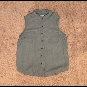 Button up collared tank top